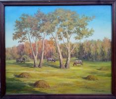 Festmény, Irina Sz. Zagovorcseva, 2003, legelő