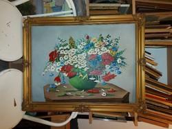Csendélet festmény, olaj, vászon, 60x80 cm+keret