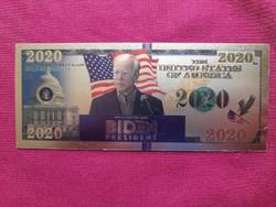 Új - színes+aranyozott, plasztik Joe Biden fantázia bankjegyhez hasonló ajándék.  1ft-ról !!