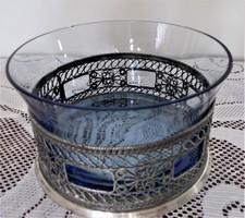 Ezüstözött filigrán asztalközép/kínáló, kék üvegbetéttel