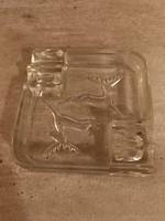 Retro vastag üveg hamutál_szarvasos_vadászjelenet