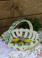 Faience fruit basket with beautiful lemon and butterfly pattern