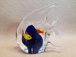 Régi muránói üveg hal papírnehezék