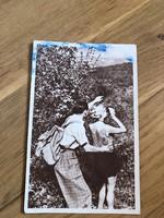 Leselkedő pár képeslap - 1953 -as