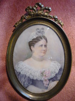 Biedermeier miniatűr női portré 2107 14