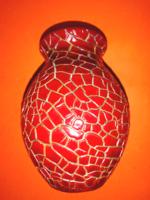 Zsolnay ökörvérmázas öblös váza