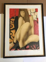 """Alain Bonnefoit (1937-) """"Bellezza bruna"""" -Barna szépség- Nagy méretű Litográfia mérete:60 x 80 cm."""