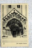 Régi képeslap Ják , jáki templom bejárata