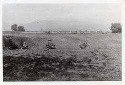 Katona csoportkép, német, hadgyakorlat, 10,5x7 cm
