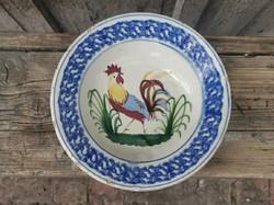 Telkibánya tányér, kakasos, keménycserép