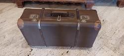 Régi hajlított fa pántos koffer, bőrönd
