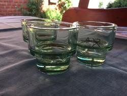 Halványzöld üveg gyertya-tartó 3 db egyben, új (2.sz.)