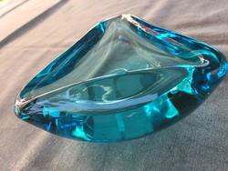 Csodás türkizkék színű kristályüveg kínáló, tálka, hamutartó (2.sz.)
