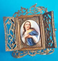 Porcelán kép szentkép réz keretben , asztali oltár