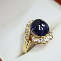 1.00ct Zafír 0.54ct Brill köves arany gyűrű 18 karát
