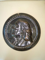 23,5 cm nagy Liszt Ferenc falidísz kerámia dísz Frans Liszt ceramic