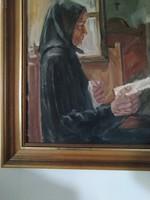 Szirmayné Bayer Erzsébet: Az utolsó levél , szép karakteres jelzett festmény eladó...