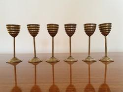 Art deco régi röviditalos fém talpas pohár készlet 6 db