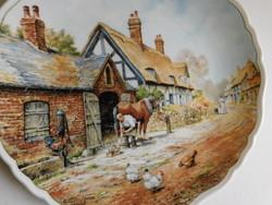 Royal Doulton vidéki jelenetes tányér (patkoló kovács)