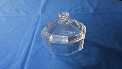 Régi nyolcszögletű üveg francia Arcoroc bonbonier - cukortartó