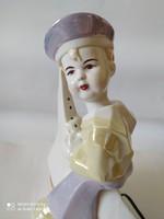 Art deco stílusú asztali lámpa, Vitorlázó kisfiú, jelzett, hibátlan, 28 cm