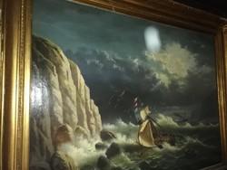Ritka szép ! Kastélyba, kúriába való nagy méretű szignált  A. CUBERLE   1871 .Viharos tengeren képe