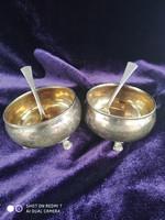 Antik ezüst 800-as (Diana) fűszertartó páros ezüst füszeres kanalaival