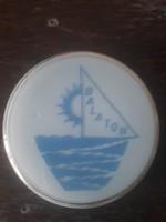 Balaton retro emléktárgy-70-es évek, tejüveg doboz/ékszeres tálka/ékszertartó/bonbonier