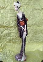 """Japán Kínai Gésa élethű szobor art deco dizájn, Kína Japán Ázsia 'Gleneagles Studio"""" Kézzel festett"""