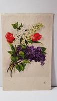 Régi tulipán orgona csokor, virágos képeslap, üdvözlőlap, levelezőlap 1938