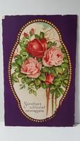 Régi rózsa virágos képeslap, üdvözlőlap, levelezőlap 1932