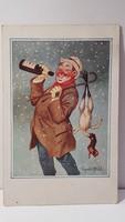 Régi képeslap vicces, humoros levelezőlap 1934