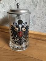 Alt Österreich feliratú, címeres - jelzett OLASZ üveg korsó, ÓN fedéllel 17.
