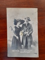 Régi fotó képeslap 1920 szerelmespár Hétfőn feliratos verses levelezőlap