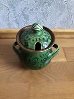 Barna - zöld mázas kerámia mézes csupor