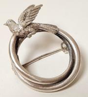Antik ezüst bross madár díszítéssel