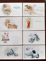 Régi húsvéti mini képeslap üdvözlőkártya 1940 körül 8 db
