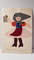 Régi kézzel készített képeslap, üdvözlőlap, levelezőlap 1941