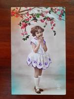 Régi PC Paris képeslap 1931 vintage fotó francia levelezőlap kislány galambok