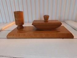 Retro fa íróasztal készlet_irószertartó_itatós