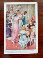 Régi képeslap esküvői készülődés rajzos levelezőlap