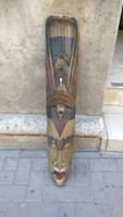 Faragott maszk falidísz 95 cm hosszú fa 20. századi