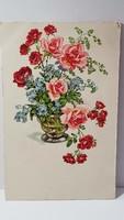 Régi virágos képeslap, üdvözlőlap, levelezőlap