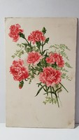 Régi szegfű virágos képeslap, üdvözlőlap, levelezőlap 1918