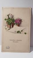 Régi lóherés, ibolya virágos képeslap, üdvözlőlap, levelezőlap 1928