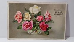 Régi rózsa virágos képeslap, üdvözlőlap, levelezőlap 1943