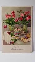 Régi virágos képeslap, üdvözlőlap, levelezőlap 1938