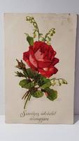 Régi rózsa virágos képeslap, üdvözlőlap, levelezőlap 1931