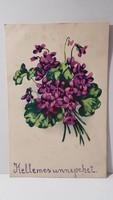 Régi ibolya virágos képeslap, üdvözlőlap, levelezőlap 1942