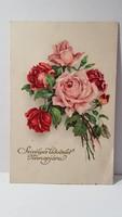 Régi rózsa virágos képeslap, üdvözlőlap, levelezőlap